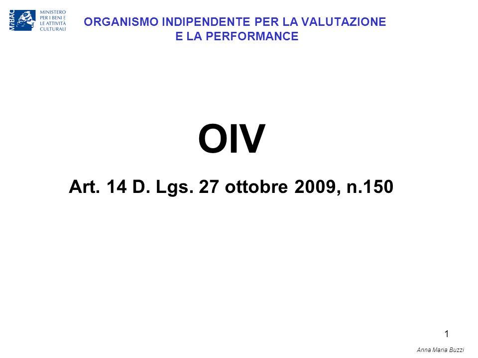 1 ORGANISMO INDIPENDENTE PER LA VALUTAZIONE E LA PERFORMANCE OIV Art. 14 D. Lgs. 27 ottobre 2009, n.150 Anna Maria Buzzi