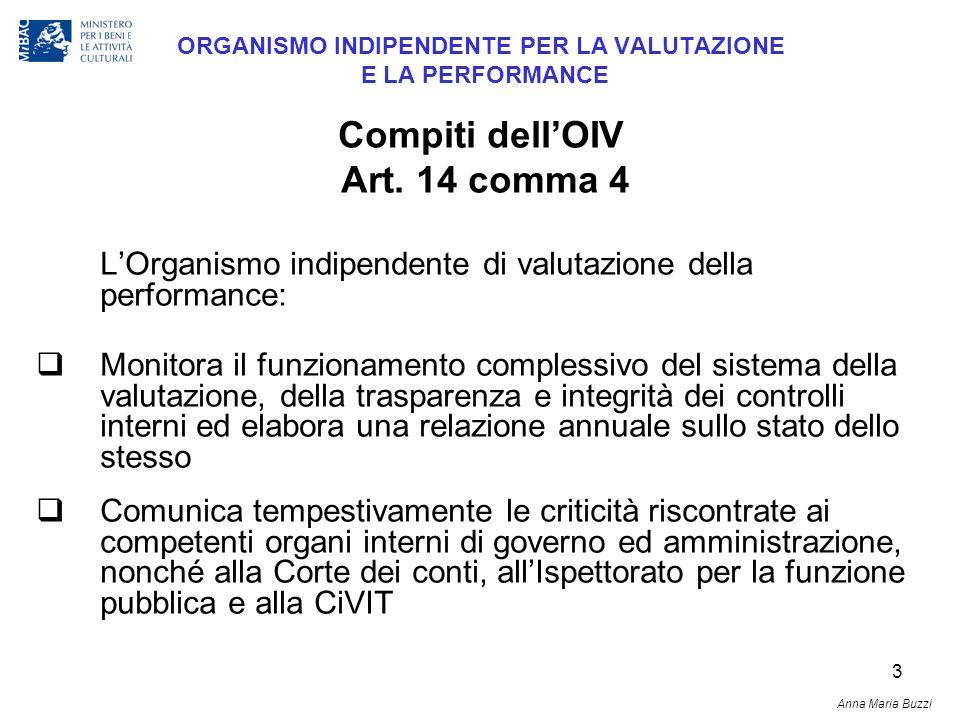 3 ORGANISMO INDIPENDENTE PER LA VALUTAZIONE E LA PERFORMANCE LOrganismo indipendente di valutazione della performance: Monitora il funzionamento compl
