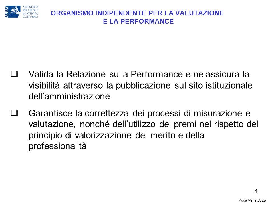 4 ORGANISMO INDIPENDENTE PER LA VALUTAZIONE E LA PERFORMANCE Valida la Relazione sulla Performance e ne assicura la visibilità attraverso la pubblicaz