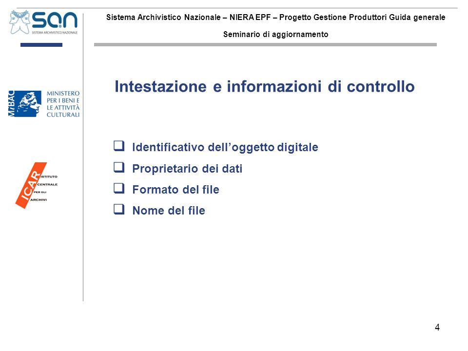 4 Sistema Archivistico Nazionale – NIERA EPF – Progetto Gestione Produttori Guida generale Seminario di aggiornamento Identificativo delloggetto digit
