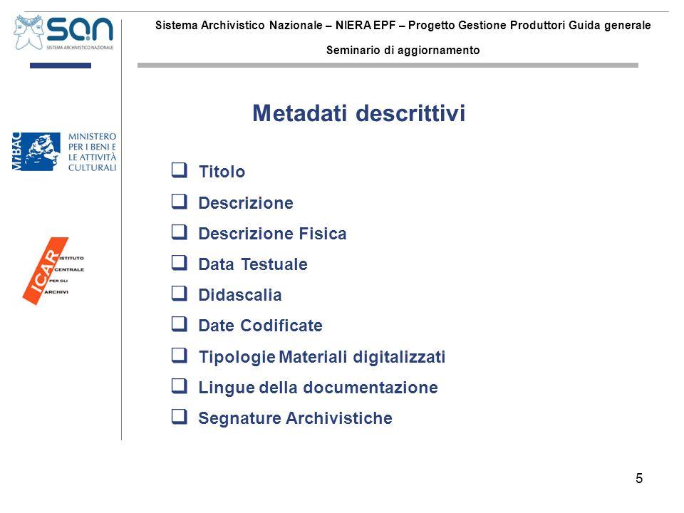 5 Sistema Archivistico Nazionale – NIERA EPF – Progetto Gestione Produttori Guida generale Seminario di aggiornamento Titolo Descrizione Descrizione F