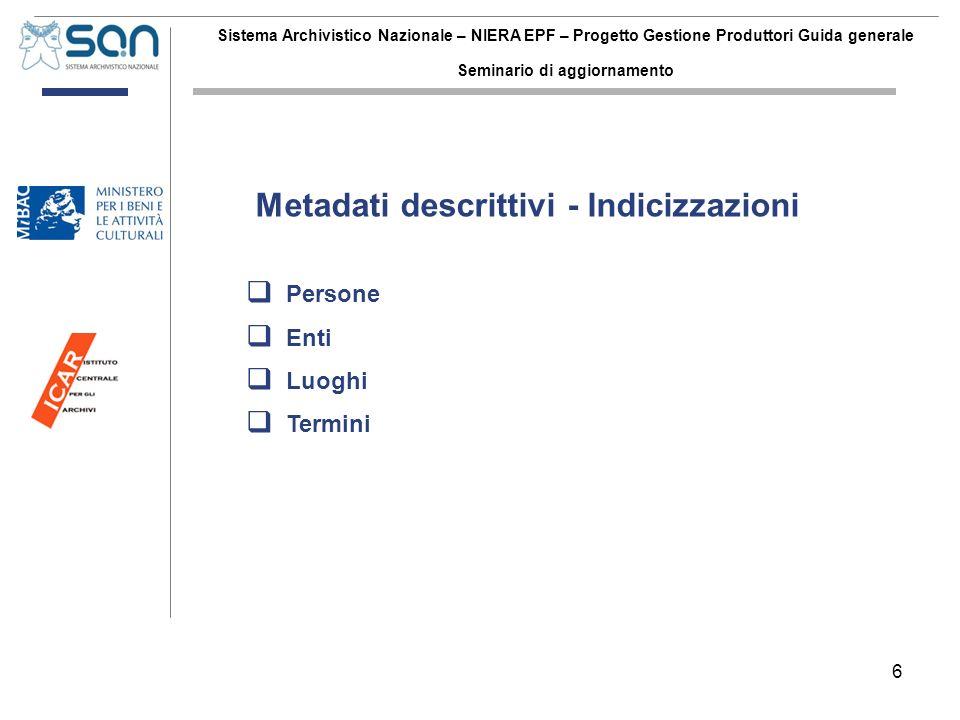 6 Sistema Archivistico Nazionale – NIERA EPF – Progetto Gestione Produttori Guida generale Seminario di aggiornamento Persone Enti Luoghi Termini Meta