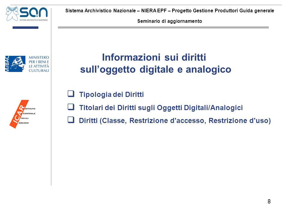 8 Sistema Archivistico Nazionale – NIERA EPF – Progetto Gestione Produttori Guida generale Seminario di aggiornamento Tipologia dei Diritti Titolari d