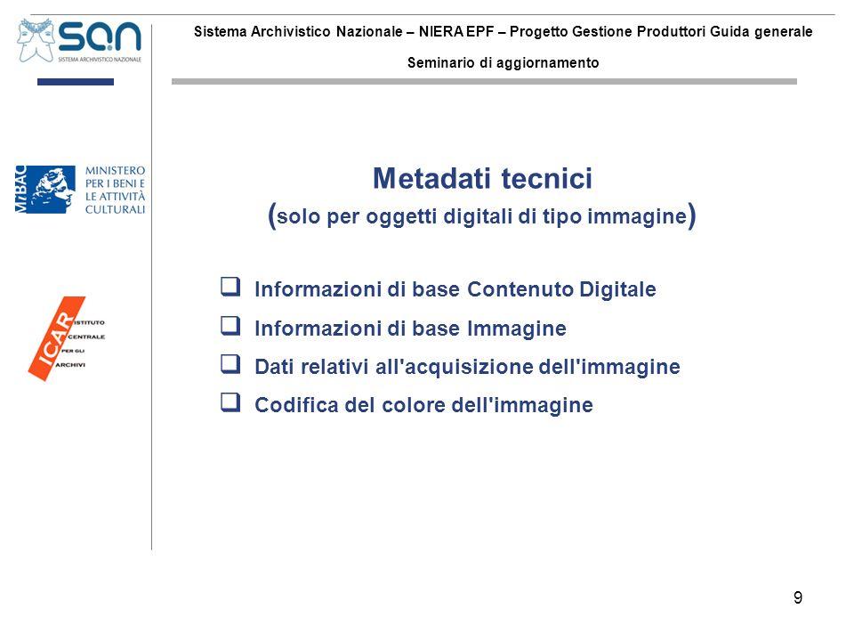 9 Sistema Archivistico Nazionale – NIERA EPF – Progetto Gestione Produttori Guida generale Seminario di aggiornamento Informazioni di base Contenuto D