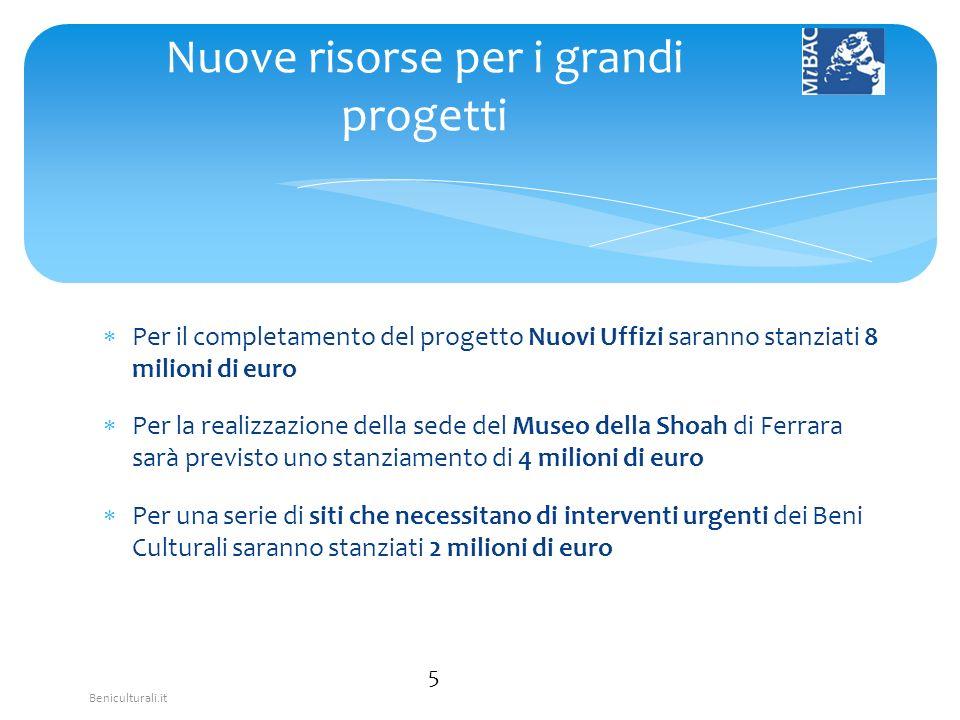 Beniculturali.it Per il completamento del progetto Nuovi Uffizi saranno stanziati 8 milioni di euro Per la realizzazione della sede del Museo della Sh