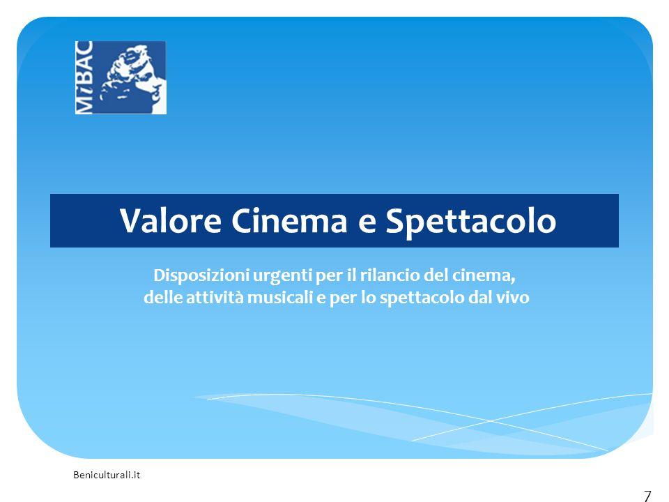 Beniculturali.it Valore Cinema e Spettacolo Disposizioni urgenti per il rilancio del cinema, delle attività musicali e per lo spettacolo dal vivo 7