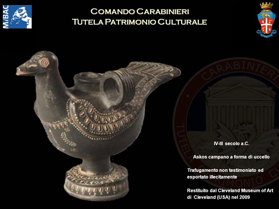 Comando Carabinieri Tutela Patrimonio Culturale IV-III secolo a.C. Askos campano a forma di uccello Trafugamento non testimoniato ed esportato illecit