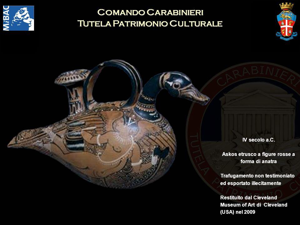 Comando Carabinieri Tutela Patrimonio Culturale IV secolo a.C. Askos etrusco a figure rosse a forma di anatra Trafugamento non testimoniato ed esporta