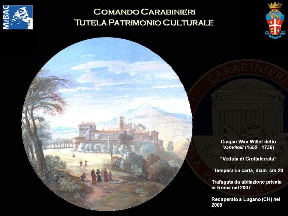 Comando Carabinieri Tutela Patrimonio Culturale Gaspar Wan Wittel detto Vanvitelli (1652 - 1736) Veduta di Grottaferrata Tempera su carta, diam. cm 20