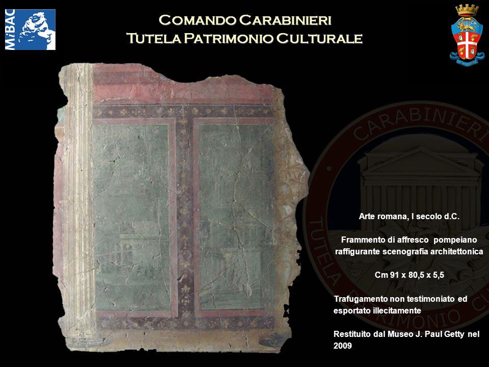 Comando Carabinieri Tutela Patrimonio Culturale Arte romana, I secolo d.C. Frammento di affresco pompeiano raffigurante scenografia architettonica Cm