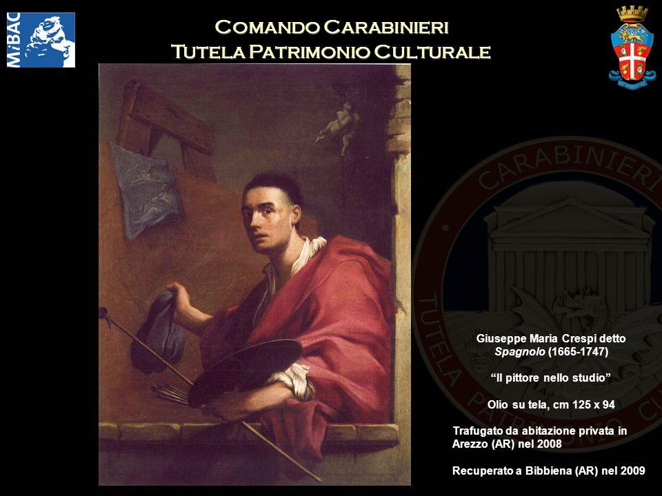 Comando Carabinieri Tutela Patrimonio Culturale Giuseppe Maria Crespi detto Spagnolo (1665-1747) Il pittore nello studio Olio su tela, cm 125 x 94 Trafugato da abitazione privata in Arezzo (AR) nel 2008 Recuperato a Bibbiena (AR) nel 2009