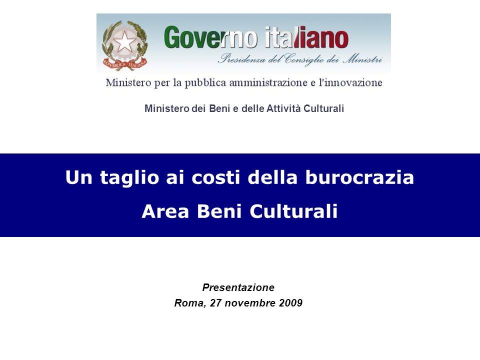 Presentazione Roma, 27 novembre 2009 CRONOPROGRAMMA Un taglio ai costi della burocrazia Area Beni Culturali Ministero dei Beni e delle Attività Cultur