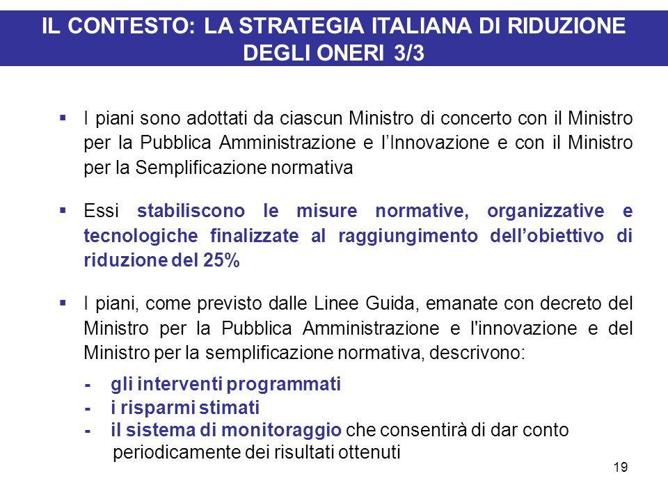 19 IL CONTESTO: LA STRATEGIA ITALIANA DI RIDUZIONE DEGLI ONERI 3/3 I piani sono adottati da ciascun Ministro di concerto con il Ministro per la Pubbli