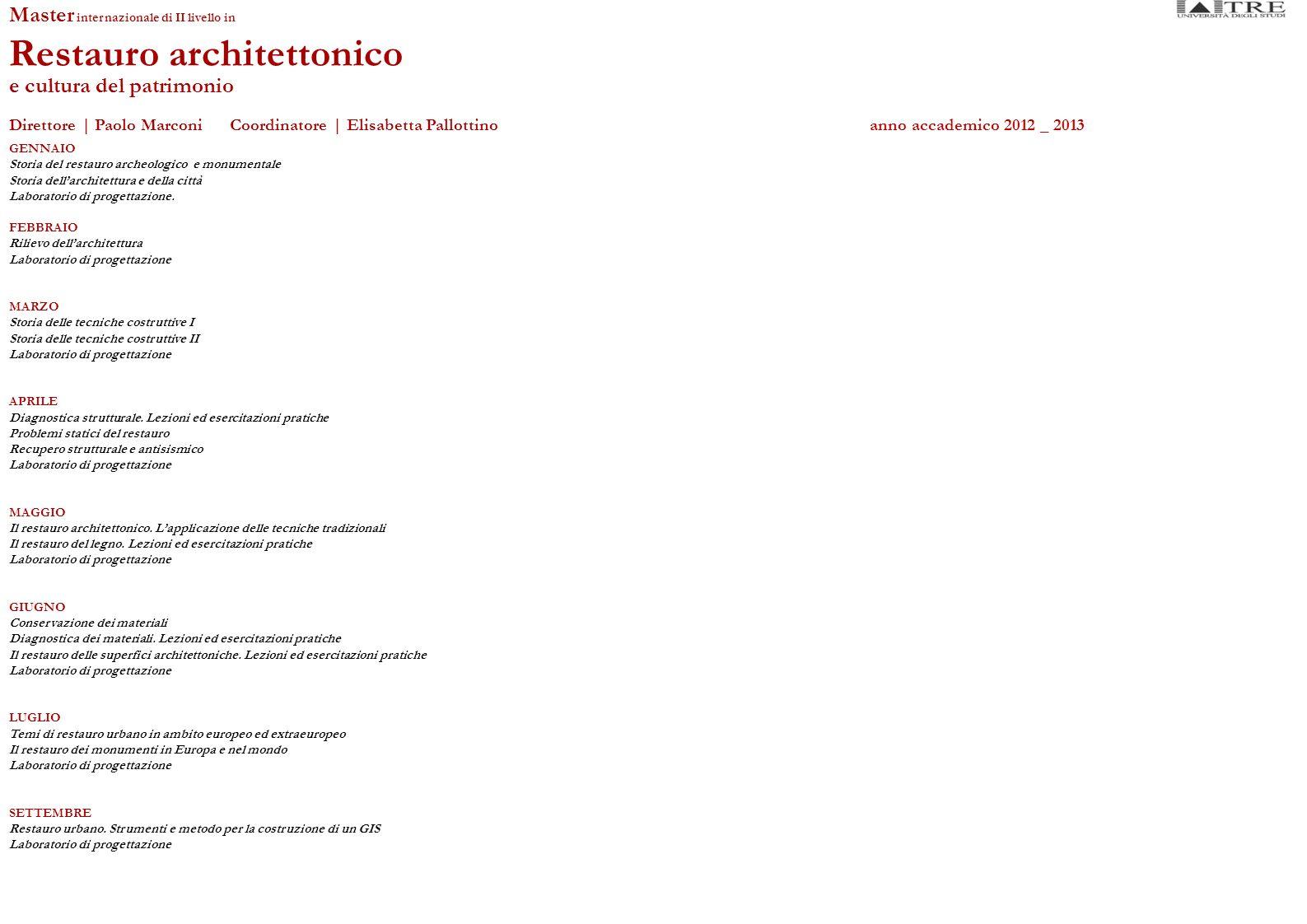 GENNAIO Storia del restauro archeologico e monumentale Storia dellarchitettura e della città Laboratorio di progettazione.