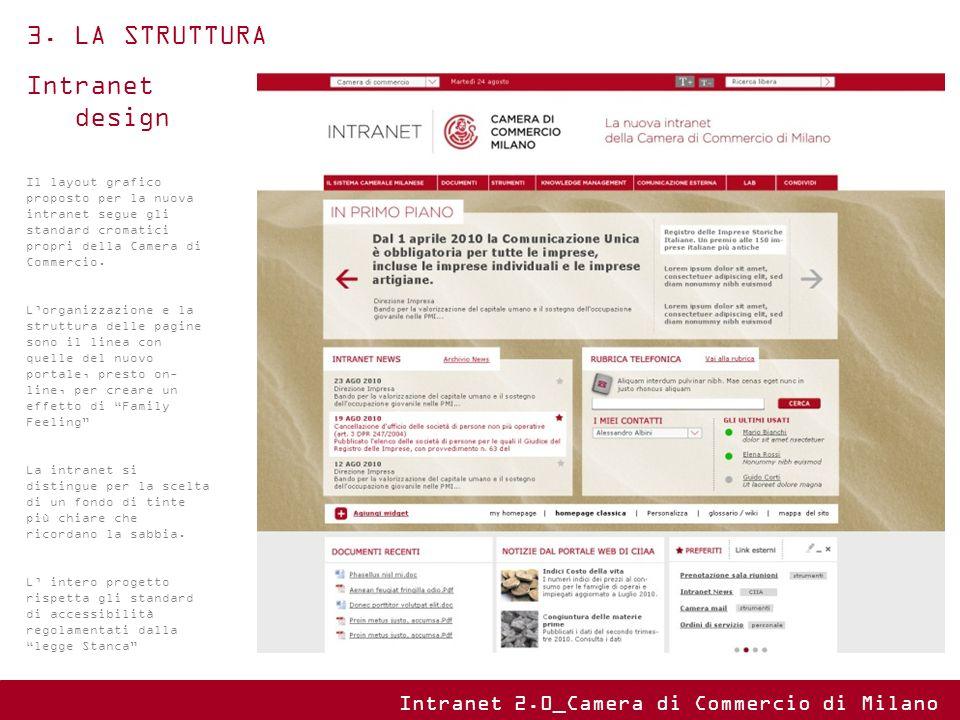 Intranet design Il layout grafico proposto per la nuova intranet segue gli standard cromatici propri della Camera di Commercio. Lorganizzazione e la s