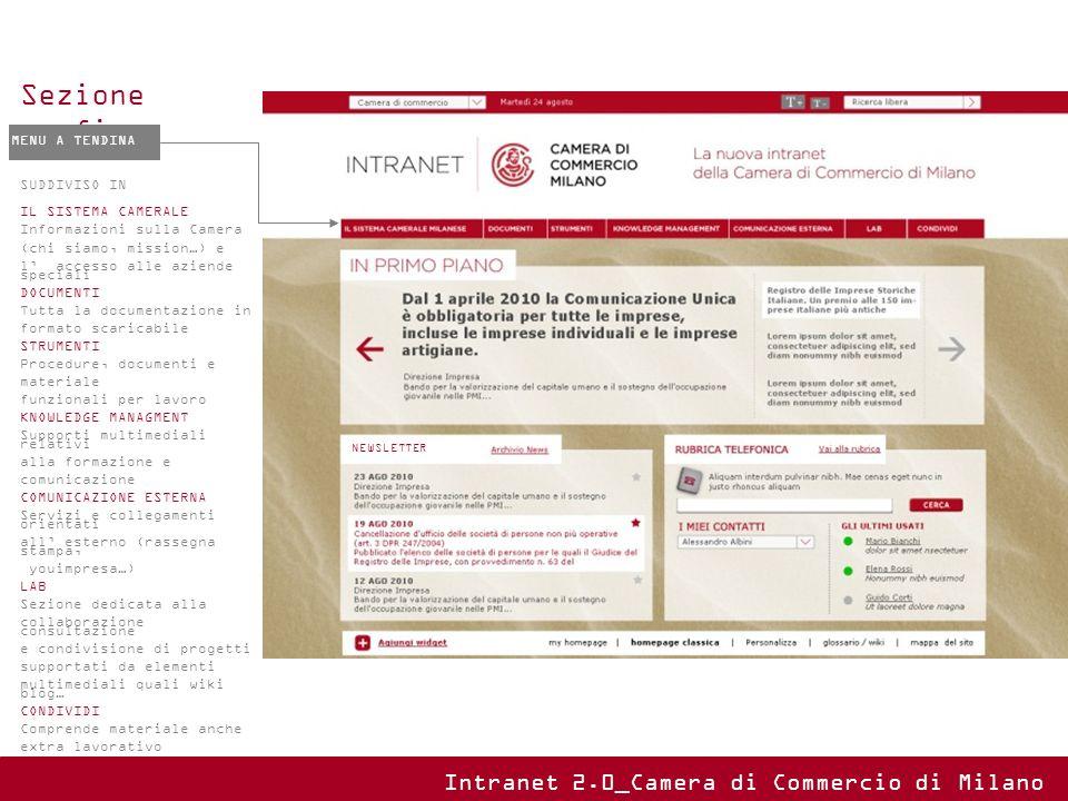 Sezione fissa MENU A TENDINA SUDDIVISO IN IL SISTEMA CAMERALE Informazioni sulla Camera (chi siamo, mission…) e l accesso alle aziende speciali DOCUME