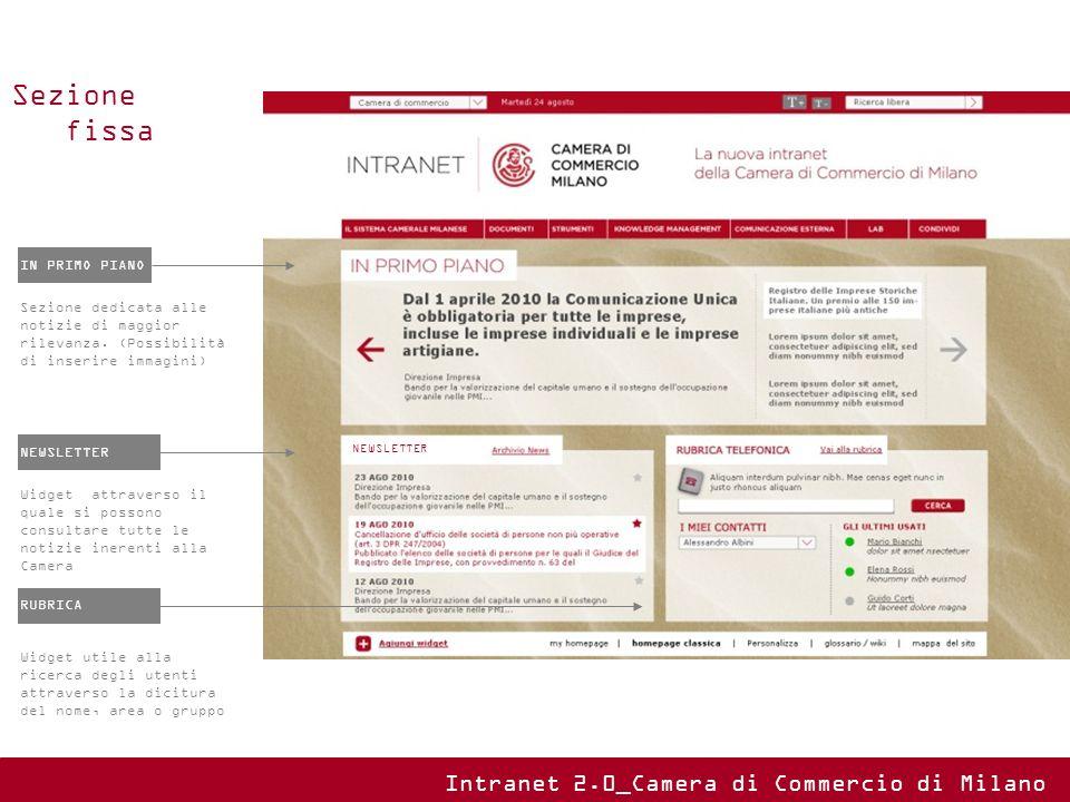 IN PRIMO PIANO Sezione dedicata alle notizie di maggior rilevanza. (Possibilità di inserire immagini) NEWSLETTER Widget attraverso il quale si possono