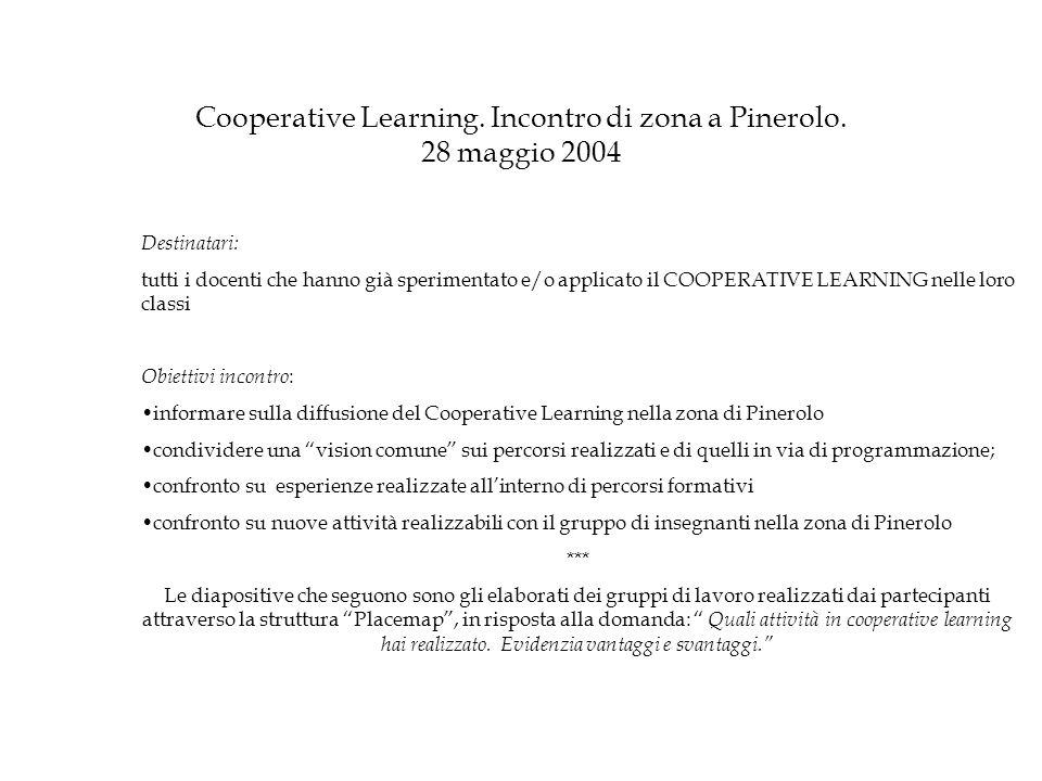 Cooperative Learning.Incontro di zona a Pinerolo.