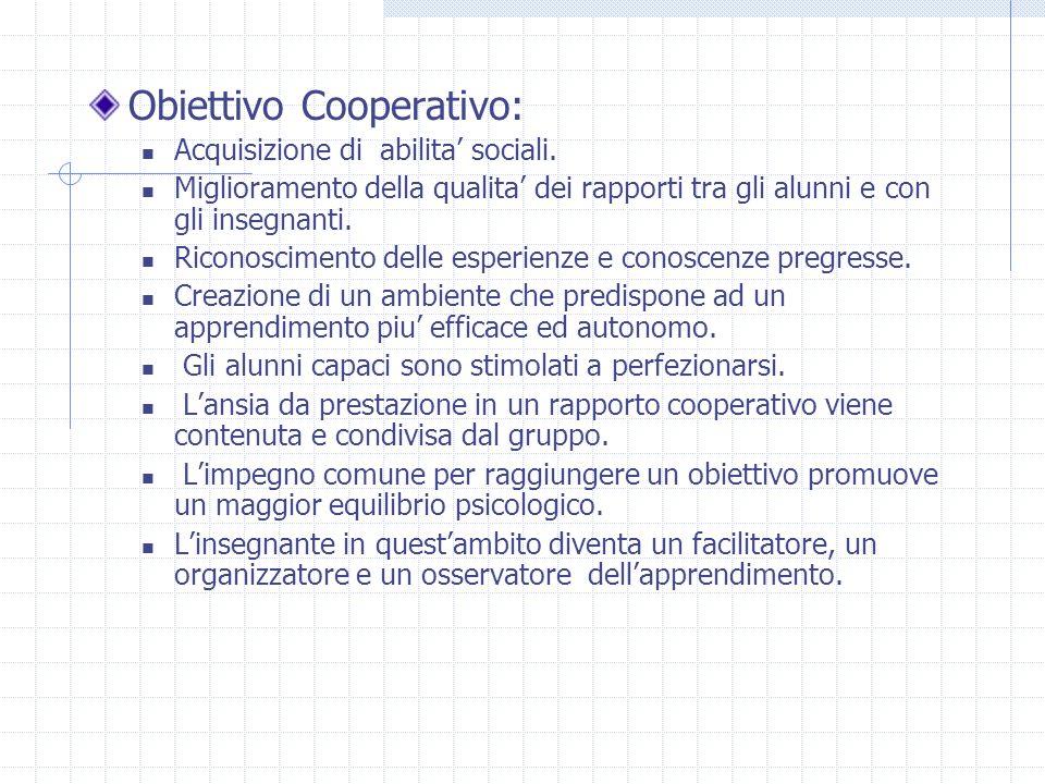 Obiettivo Cooperativo: Acquisizione di abilita sociali. Miglioramento della qualita dei rapporti tra gli alunni e con gli insegnanti. Riconoscimento d