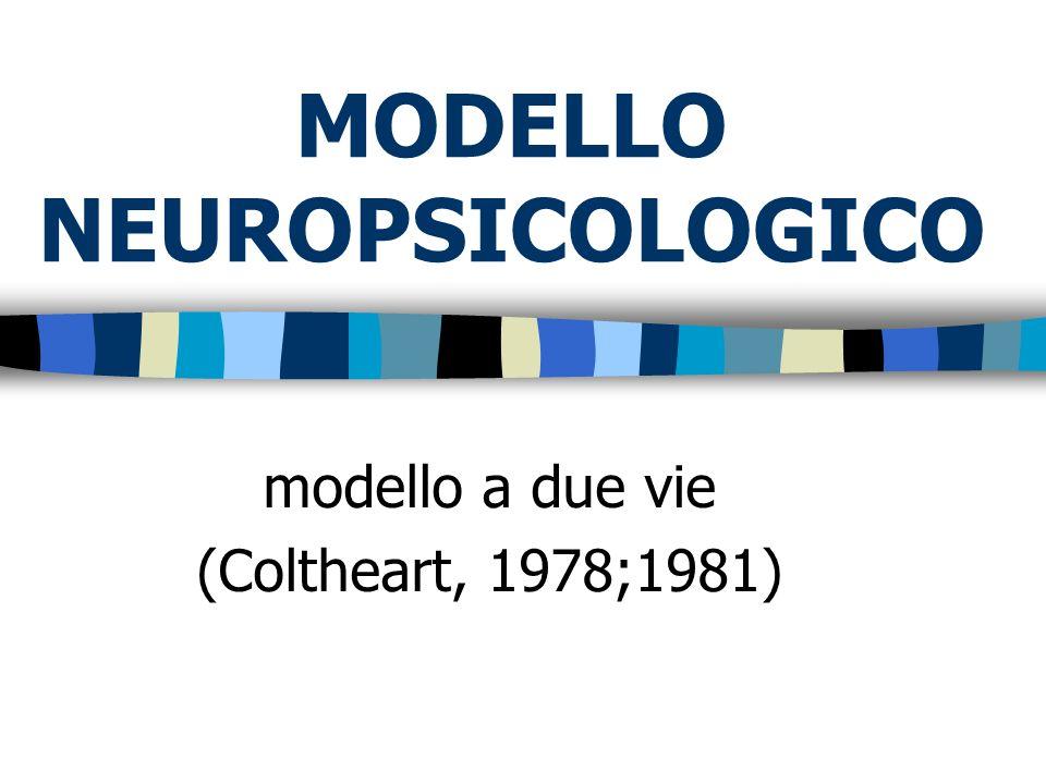 MODELLO NEUROPSICOLOGICO modello a due vie (Coltheart, 1978;1981)