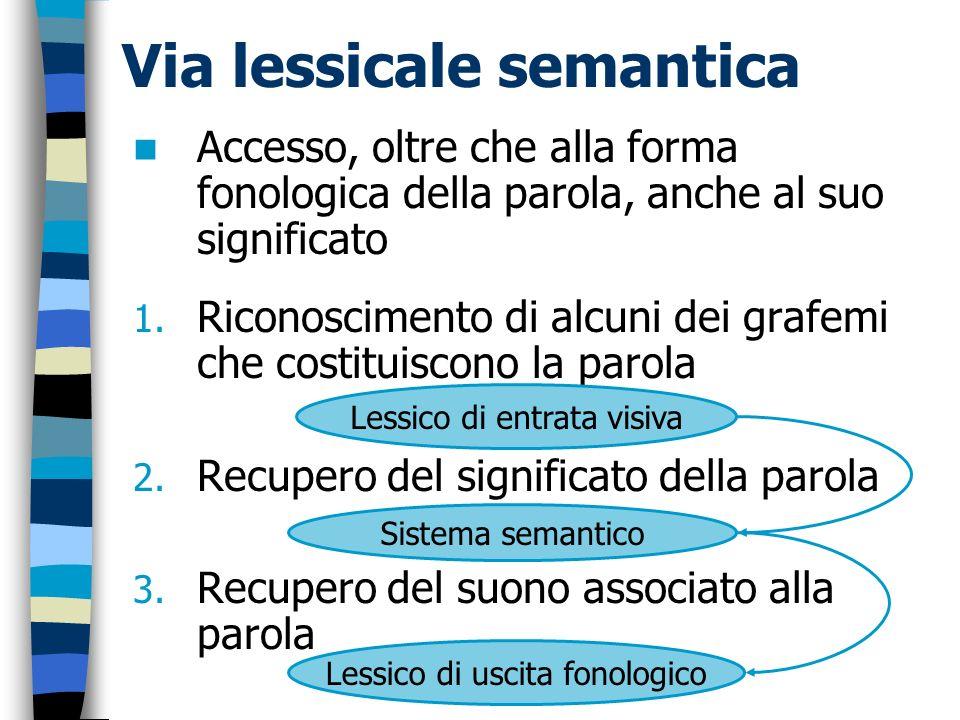 Accesso, oltre che alla forma fonologica della parola, anche al suo significato 1. Riconoscimento di alcuni dei grafemi che costituiscono la parola 2.
