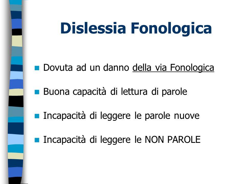 Dislessia Fonologica Dovuta ad un danno della via Fonologica Buona capacità di lettura di parole Incapacità di leggere le parole nuove Incapacità di l