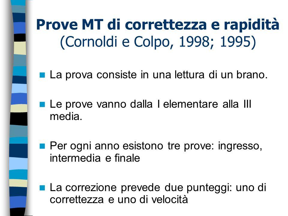 Prove MT di correttezza e rapidità (Cornoldi e Colpo, 1998; 1995) La prova consiste in una lettura di un brano. Le prove vanno dalla I elementare alla