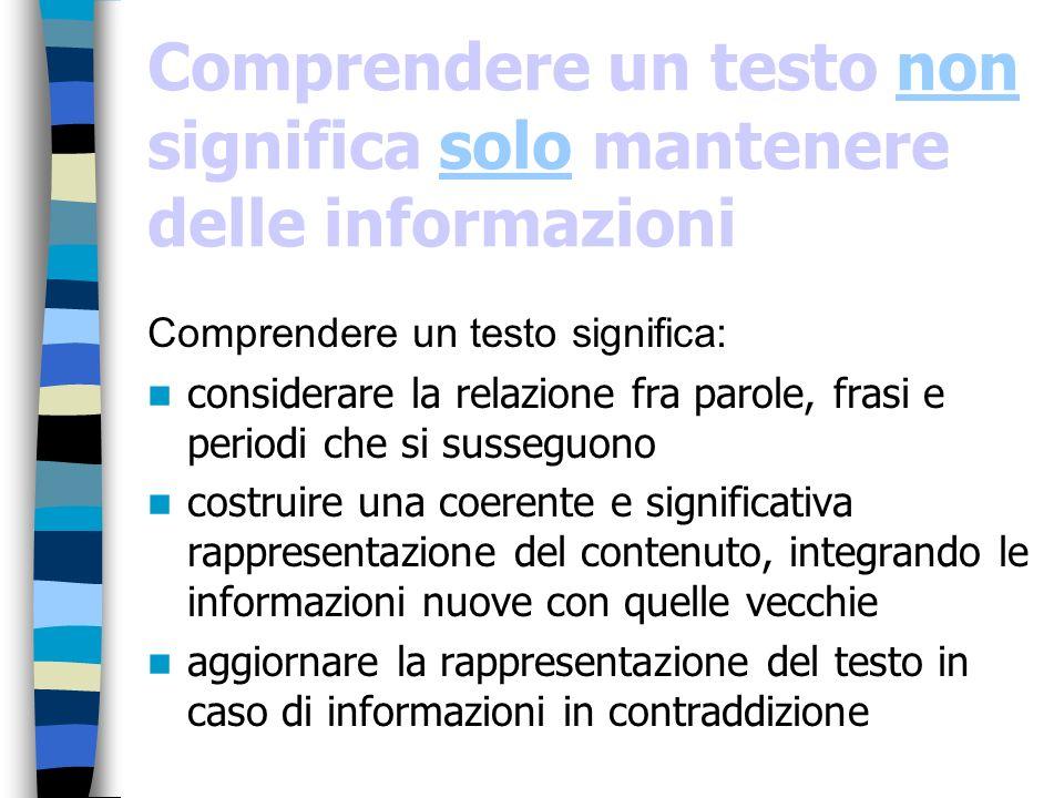 Comprendere un testo non significa solo mantenere delle informazioni Comprendere un testo significa: considerare la relazione fra parole, frasi e peri