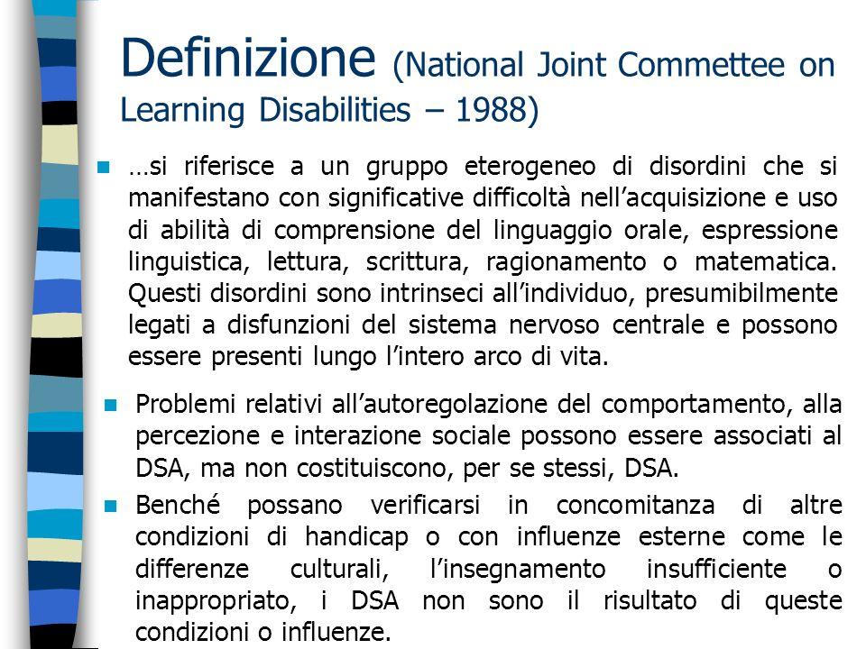 Definizione (National Joint Commettee on Learning Disabilities – 1988) …si riferisce a un gruppo eterogeneo di disordini che si manifestano con signif