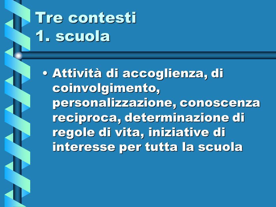 Tre contesti 1. scuola Attività di accoglienza, di coinvolgimento, personalizzazione, conoscenza reciproca, determinazione di regole di vita, iniziati