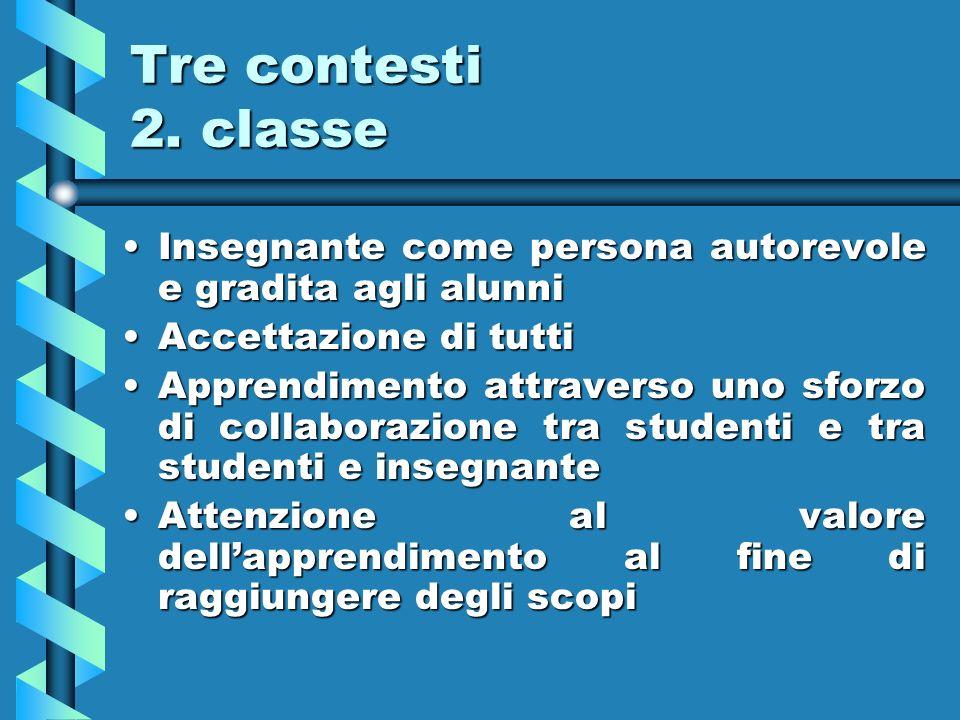 Tre contesti 2. classe Insegnante come persona autorevole e gradita agli alunniInsegnante come persona autorevole e gradita agli alunni Accettazione d