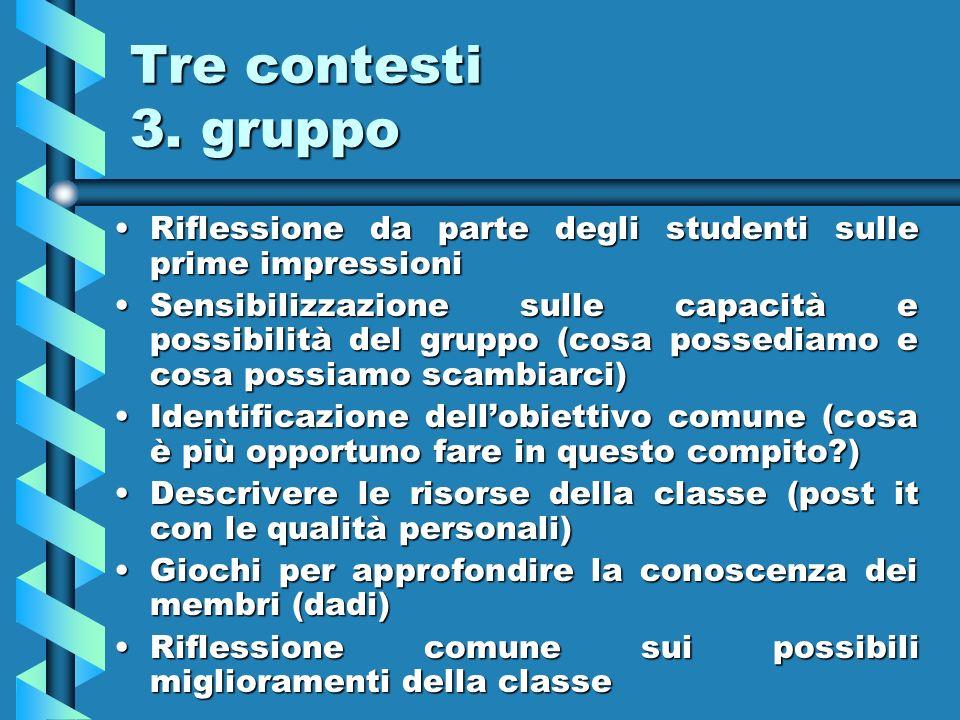 Tre contesti 3. gruppo Riflessione da parte degli studenti sulle prime impressioniRiflessione da parte degli studenti sulle prime impressioni Sensibil
