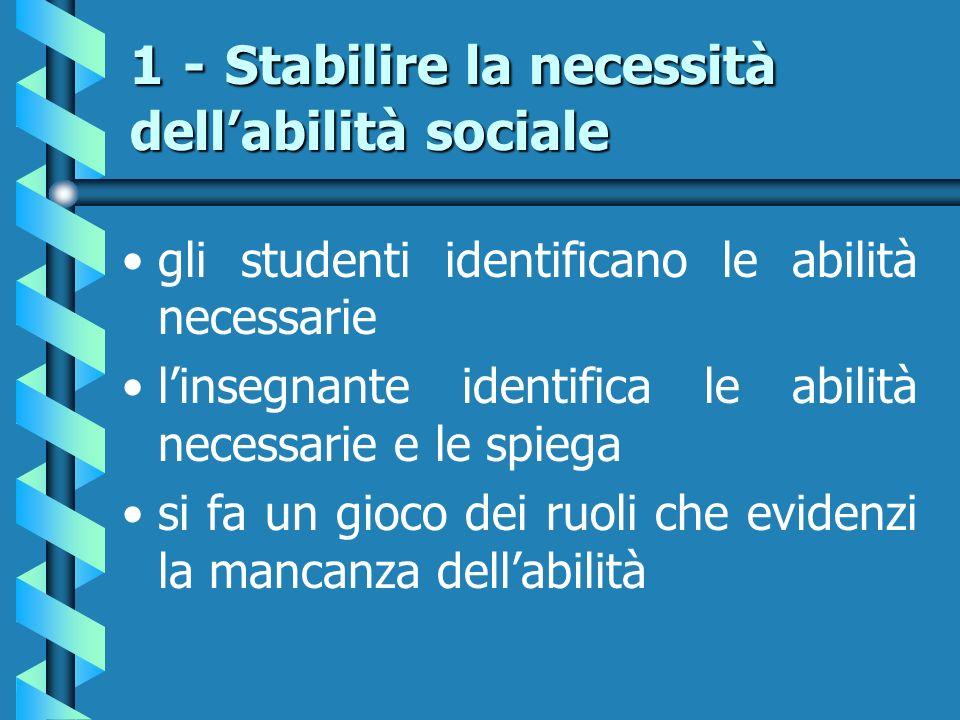 1 - Stabilire la necessità dellabilità sociale gli studenti identificano le abilità necessarie linsegnante identifica le abilità necessarie e le spieg
