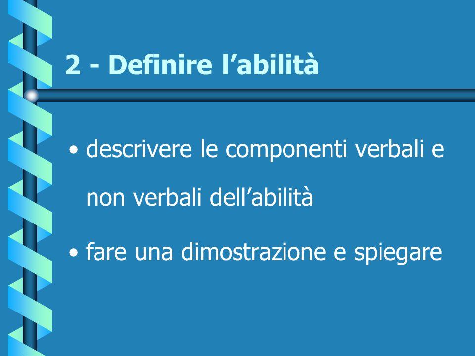 2 - Definire labilità descrivere le componenti verbali e non verbali dellabilità fare una dimostrazione e spiegare
