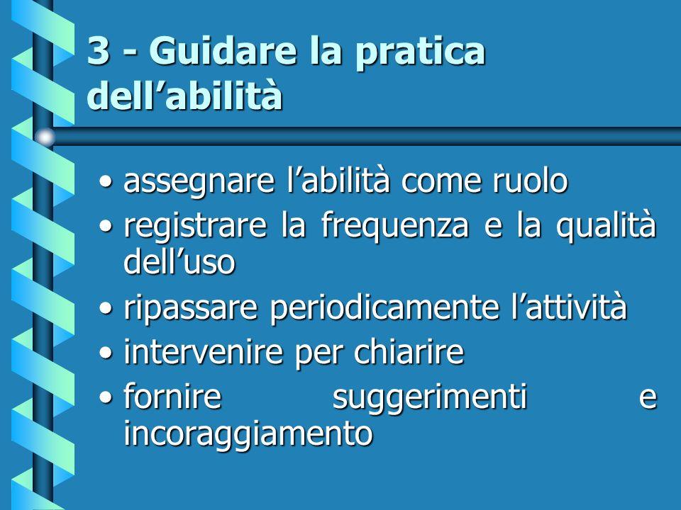 3 - Guidare la pratica dellabilità assegnare labilità come ruoloassegnare labilità come ruolo registrare la frequenza e la qualità dellusoregistrare l