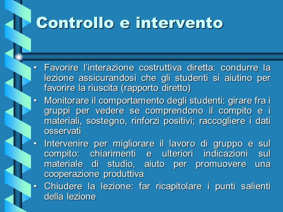 Controllo e intervento Favorire linterazione costruttiva diretta: condurre la lezione assicurandosi che gli studenti si aiutino per favorire la riusci