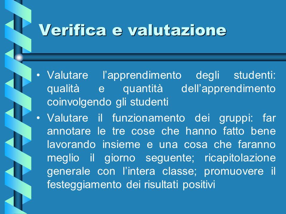Verifica e valutazione Valutare lapprendimento degli studenti: qualità e quantità dellapprendimento coinvolgendo gli studenti Valutare il funzionament