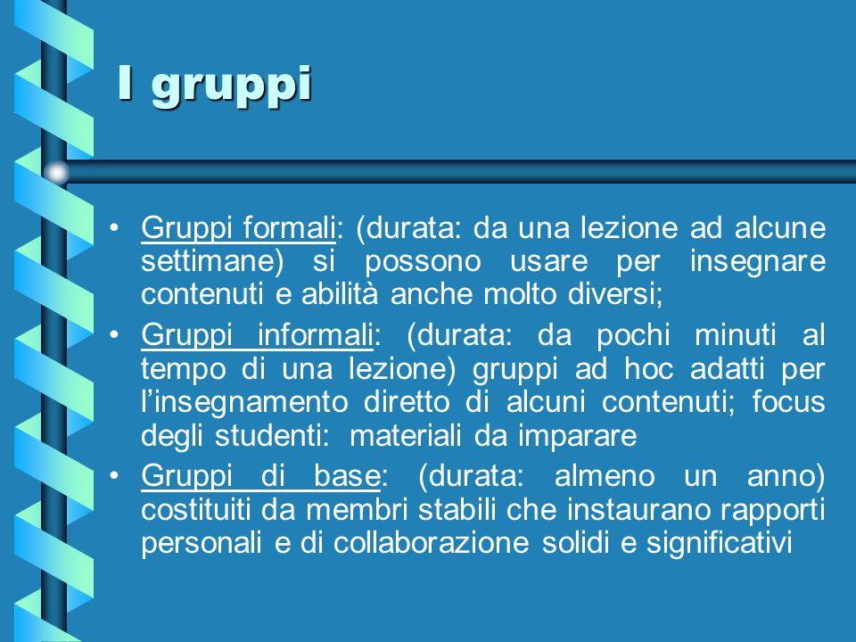 I gruppi Gruppi formali: (durata: da una lezione ad alcune settimane) si possono usare per insegnare contenuti e abilità anche molto diversi; Gruppi i