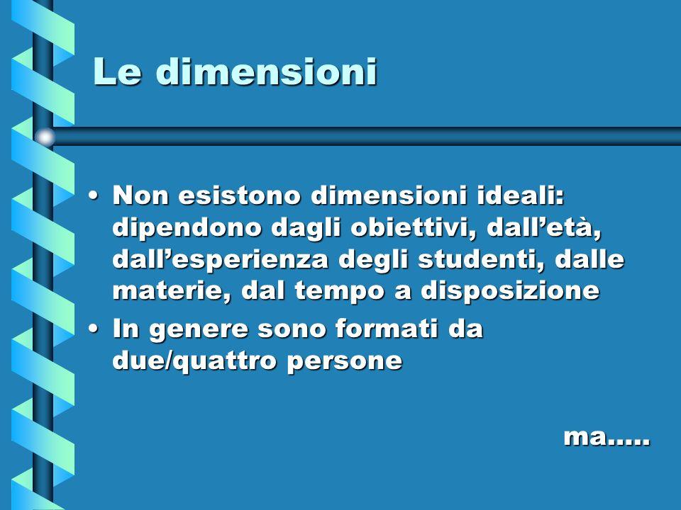Le dimensioni Non esistono dimensioni ideali: dipendono dagli obiettivi, dalletà, dallesperienza degli studenti, dalle materie, dal tempo a disposizio