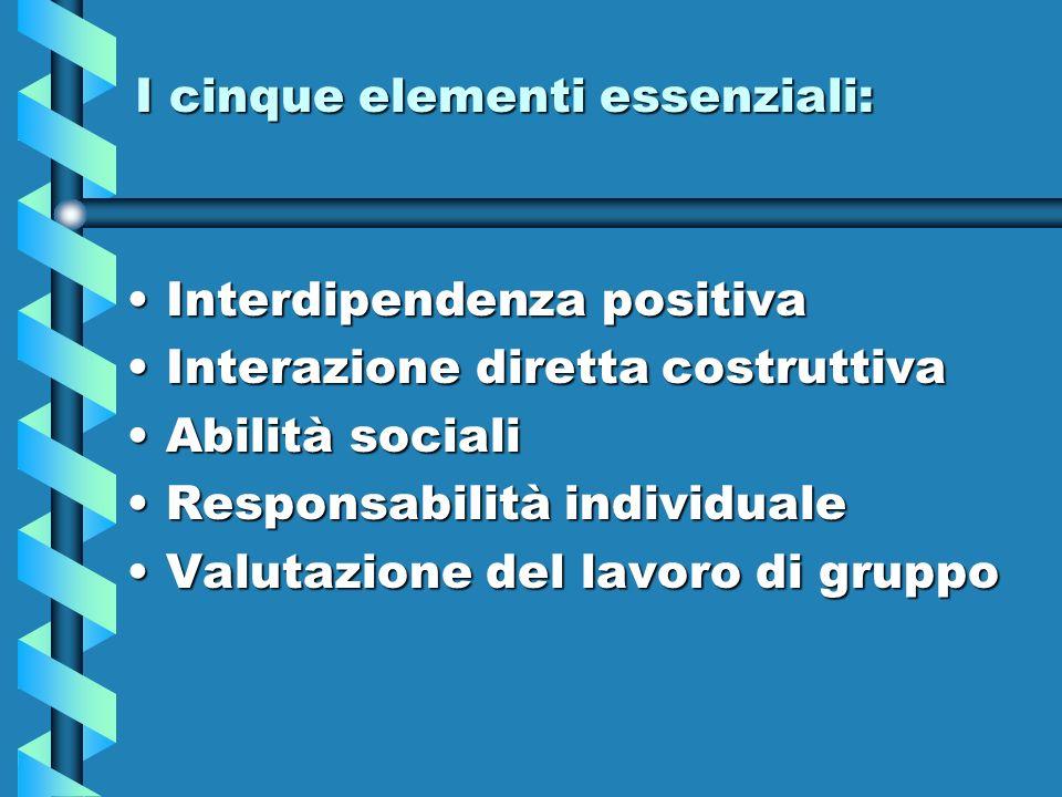 I cinque elementi essenziali: Interdipendenza positivaInterdipendenza positiva Interazione diretta costruttivaInterazione diretta costruttiva Abilità