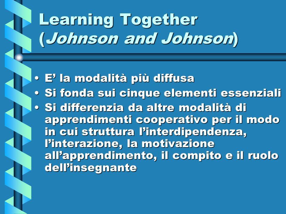 Learning Together (Johnson and Johnson) E la modalità più diffusaE la modalità più diffusa Si fonda sui cinque elementi essenzialiSi fonda sui cinque
