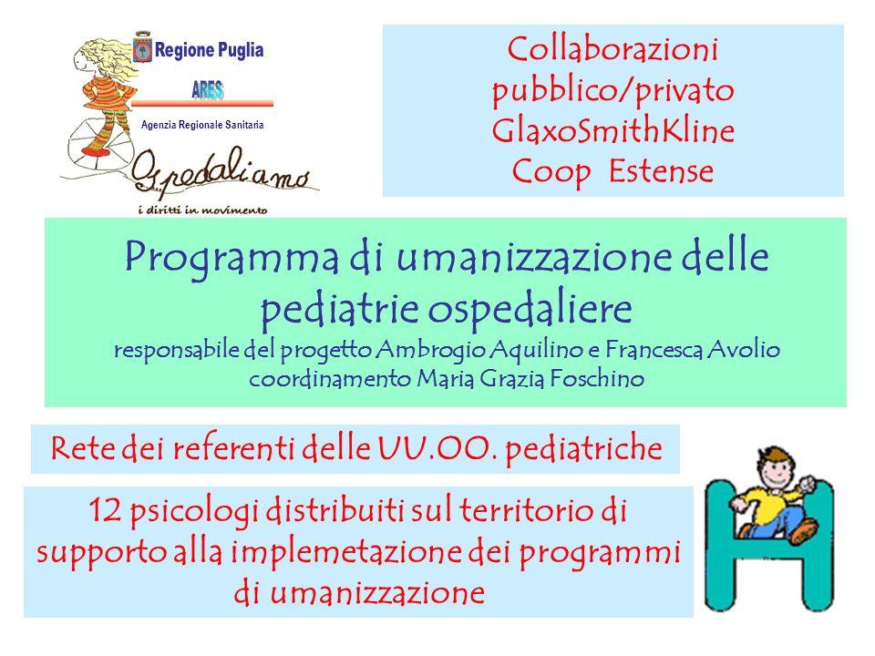 Programma di umanizzazione delle pediatrie ospedaliere responsabile del progetto Ambrogio Aquilino e Francesca Avolio coordinamento Maria Grazia Fosch