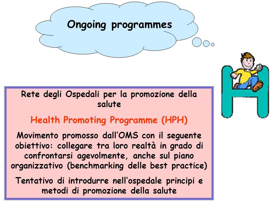 Rete degli Ospedali per la promozione della salute Health Promoting Programme (HPH) Movimento promosso dallOMS con il seguente obiettivo: collegare tr