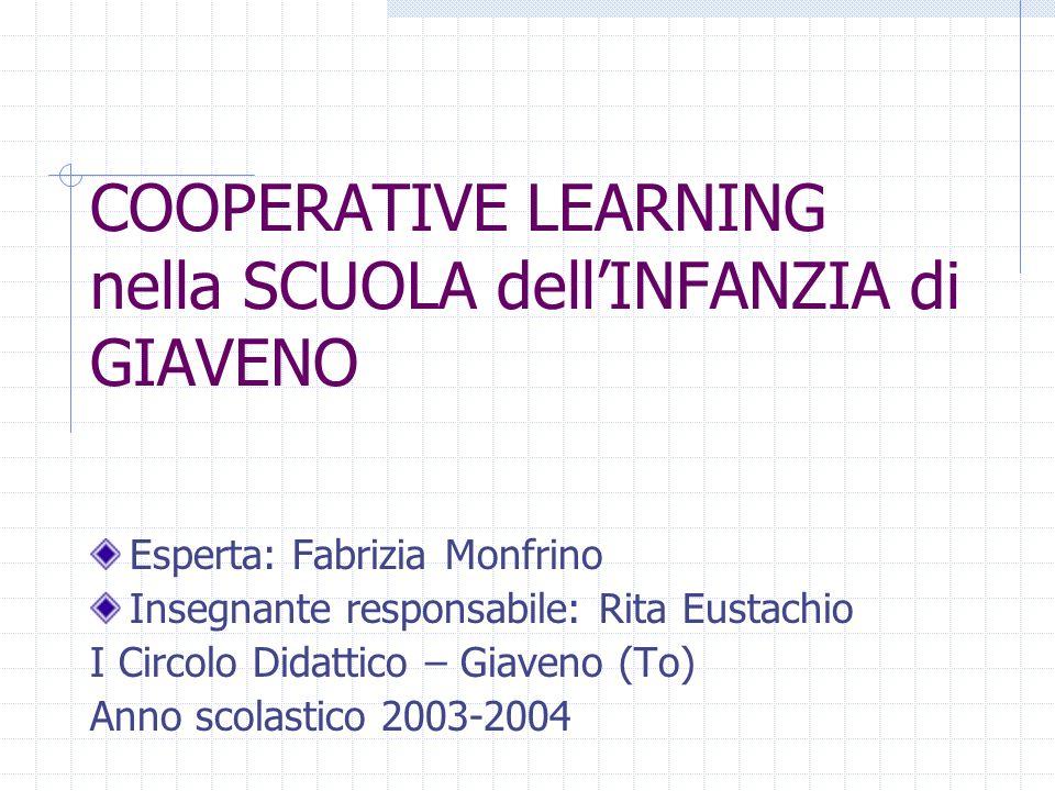 COOPERATIVE LEARNING nella SCUOLA dellINFANZIA di GIAVENO Esperta: Fabrizia Monfrino Insegnante responsabile: Rita Eustachio I Circolo Didattico – Gia