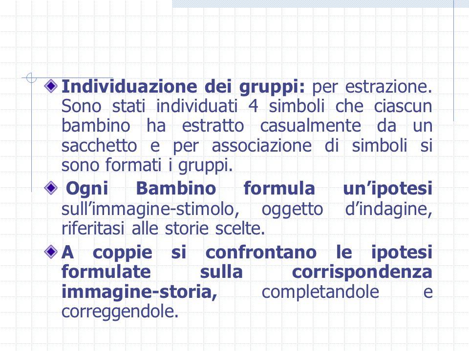 Individuazione dei gruppi: per estrazione. Sono stati individuati 4 simboli che ciascun bambino ha estratto casualmente da un sacchetto e per associaz