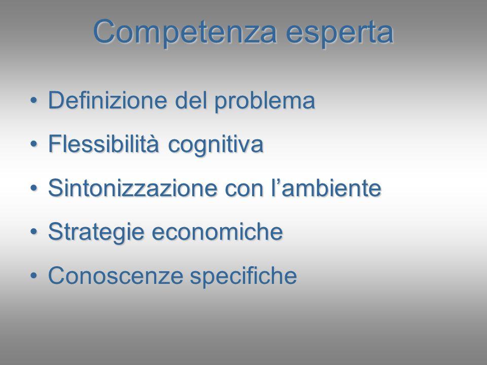 Competenza esperta Definizione del problemaDefinizione del problema Flessibilità cognitivaFlessibilità cognitiva Sintonizzazione con lambienteSintoniz