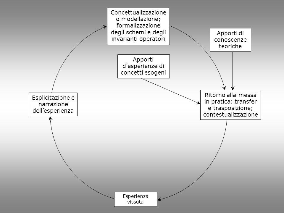 Esplicitazione e narrazione dellesperienza Concettualizzazione o modellazione; formalizzazione degli schemi e degli invarianti operatori Apporti despe