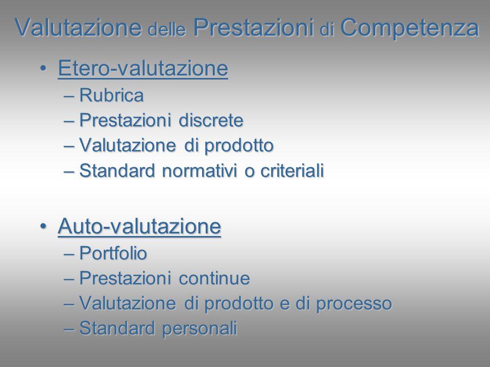 Valutazione delle Prestazioni di Competenza Etero-valutazioneEtero-valutazione –Rubrica –Prestazioni discrete –Valutazione di prodotto –Standard norma