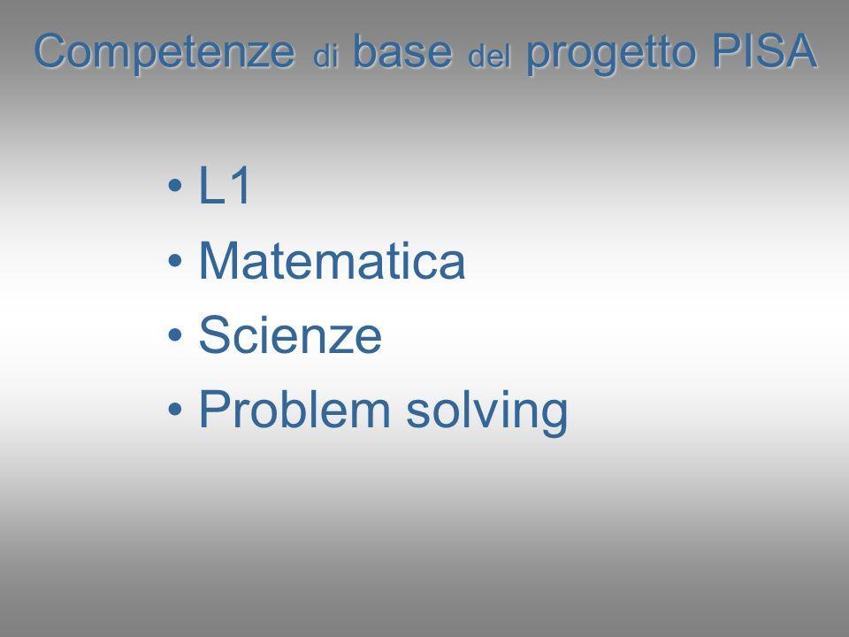 Competenze di base del progetto PISA L1 Matematica Scienze Problem solving
