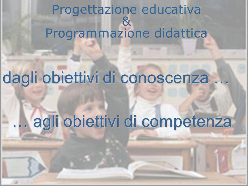 dagli obiettivi di conoscenza … … agli obiettivi di competenza Progettazione educativa & Programmazione didattica